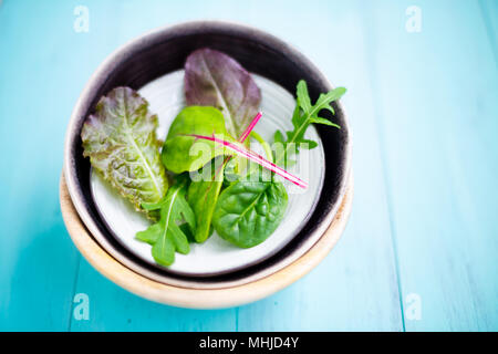 Mixed baby leaf salad of red chard, arugula, red lettuce and tatsoi in small bowls on a aquamarine wooden table, Selective focus - Stock Photo