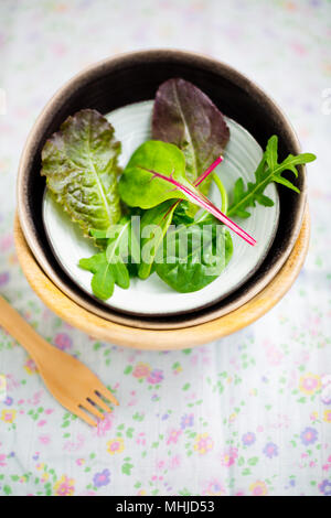 Mixed baby leaf salad of red chard, arugula, red lettuce and tatsoi in small bowls on a floral napkin, Selective focus - Stock Photo