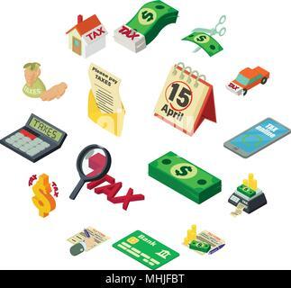 Taxes accounting money icons set, isometric style - Stock Photo