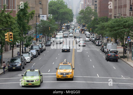 NEW YORK CITY - JUNE 14 2015: town congested street and avenue also on sunday - Stock Photo