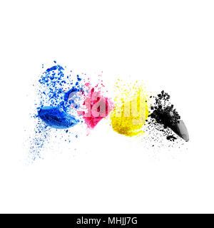 CMYK colour toner for printer cyan magenta yellow black. color splash - Stock Photo
