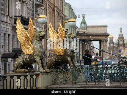 St. Petersburg, Russia, 23 February 2015 Bank Bridge with winged lions - Stock Photo