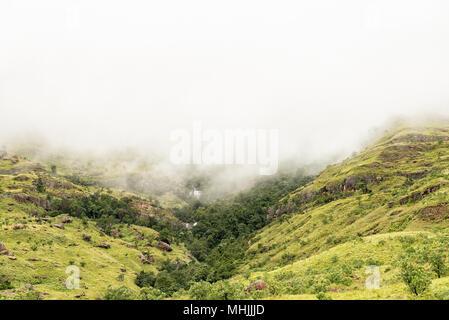 Tiger Falls near Mahai in the foothills of the Kwazulu-Natal Drakensberg - Stock Photo