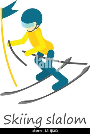 Skiing slalom icon, isometric style - Stock Photo