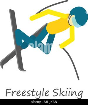 Freestyle skiing icon, isometric style - Stock Photo