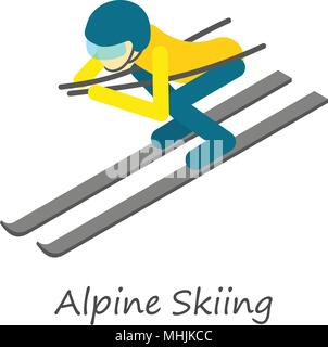 Alpine skiing icon, isometric style - Stock Photo