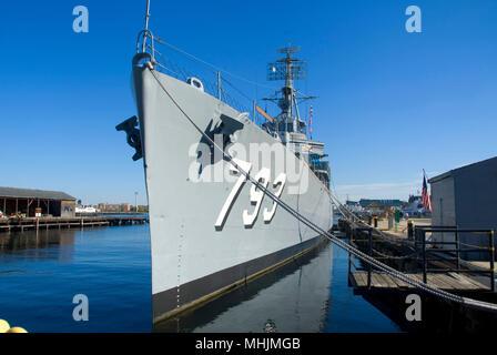 USS Cassin Young, Charleston Navy Yard, Freedom Trail, Boston National Historic Park, Boston, Massachusetts - Stock Photo
