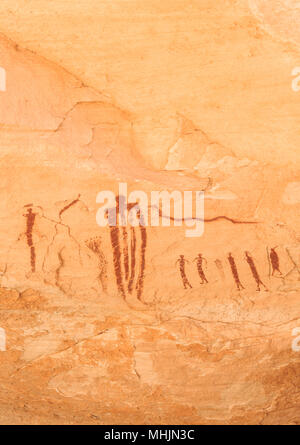 pictographs on a cliff wall in wild horse canyon near hanksville, utah - Stock Photo