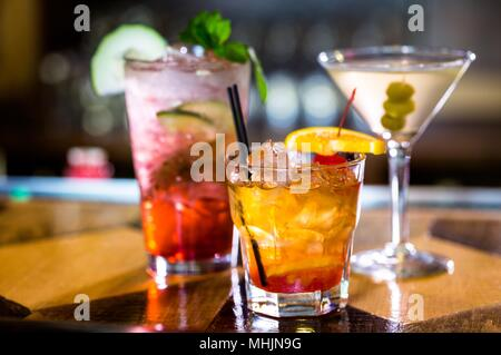 Close-Up Of Wine Glasses Against Black Background  Beer - Alcohol   Cocktail Blended Drink - Stock Photo