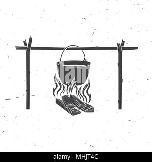Pot on the fire silhouette. Vector illustration. - Stock Photo