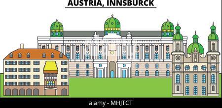 Austria, Innsburck. City skyline, architecture, buildings, streets, silhouette, landscape, panorama, landmarks. Editable strokes. Flat design line vector illustration concept. Isolated icons - Stock Photo