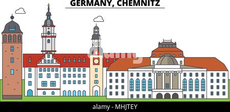 Germany, Chemnitz. City skyline, architecture, buildings, streets, silhouette, landscape, panorama, landmarks. Editable strokes. Flat design line vector illustration concept. Isolated icons - Stock Photo