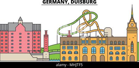 Germany, Duisburg. City skyline, architecture, buildings, streets, silhouette, landscape, panorama, landmarks. Editable strokes. Flat design line vector illustration concept. Isolated icons - Stock Photo