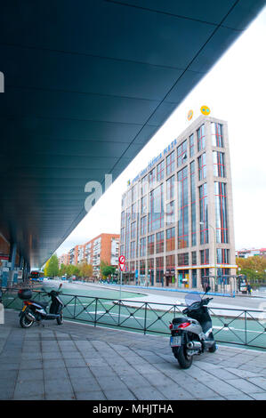 Bus station at Plaza de Castilla. Madrid, Spain. - Stock Photo