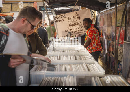 London (UK), September 2017. Vinyl records on sale in a stall in Greenwich Market. Landscape format. - Stock Photo