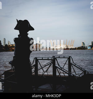 London (UK), September 2017. Statue of Horatio Nelson on the Thames Path in Greenwich. Square format. - Stock Photo