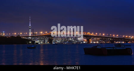shot taken right after sunset when auckland city light up - Stock Photo