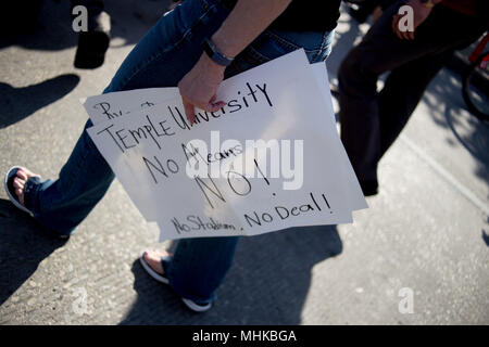 Philadelphia, PA, USA. 1st May, 2018. Protestors associated with the ''Stadium Stompers'' march down Broad Street to voice opposition to the construction of a new athletic stadium adjacent to Temple University's campus in North Philadelphia, as part of May Day events in the city. Credit: Michael Candelori/ZUMA Wire/Alamy Live News - Stock Photo