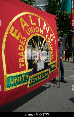 London,UK.1st May 2018. Demonstrators display banners with Marxist themes during International Workers May Day rally. Credit:  Julio Etchart/Alamy Live News - Stock Photo