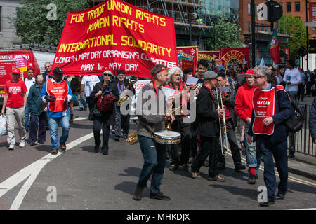 London, UK. 1st May, 2018. Representatives of trade unions and socialist and communist parties from many different countries take part in the annual May Day march to mark International Workers' Day. Credit: Mark Kerrison/Alamy Live News - Stock Photo