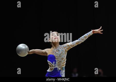 Kuala Lumpur, Malaysia. 2nd May, 2018. Roza Abitova of Kazakhstan competes during the Junior Individual Apparatus Finals Ball of 2018 Rhythmic Gymnastics Asian Championships in Kuala Lumpur, Malaysia, on May 2, 2018. Credit: Chong Voon Chung/Xinhua/Alamy Live News - Stock Photo