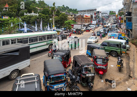 Bandarawela, Sri Lanka - April 11 2018: Noisy street of the second largest city in Badulla District - Stock Photo