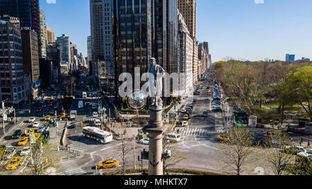 Statue of Christopher Columbus by Gaetano Russo in the middle of Columbus Circle, Manhattan, New York City - Stock Photo