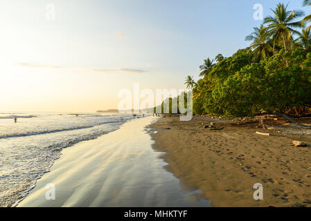 Sunset at paradise beach in Uvita, Costa Rica - beautiful beaches and tropical forest at pacific coast of Costa Rica - travel destination in central a Stock Photo