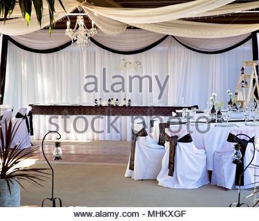 Black And White Colour Theme For Wedding Reception Venue Set Up