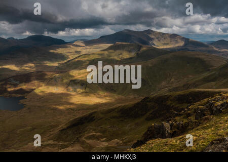 Snowdon massif from Moel Eilio, Wales, - Stock Photo