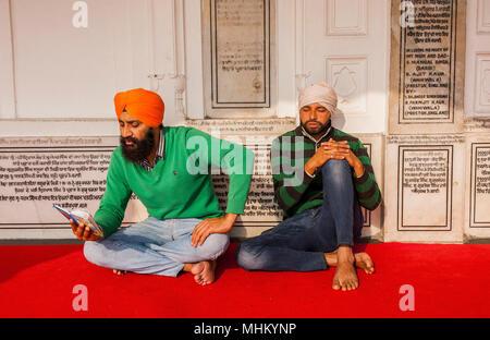 Pilgrims praying, golden temple, Amritsar, Punjab, India - Stock Photo
