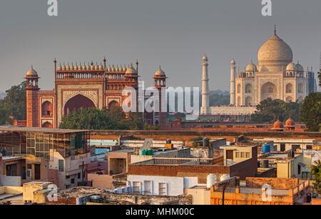 Taj Mahal and roofs of the city, Agra, India - Stock Photo