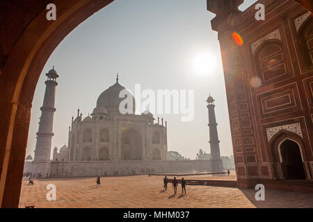 Taj Mahal, UNESCO World Heritage Site, Agra, Uttar Pradesh, India - Stock Photo