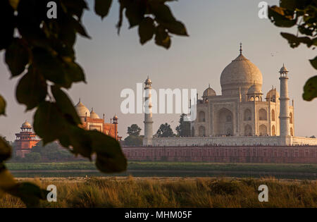 Framing, framed, frame, Taj Mahal, from Yamuna river, UNESCO World Heritage Site, Agra, Uttar Pradesh, India - Stock Photo