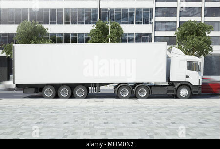 3d rendering mockup of a truck on a city street - Stock Photo