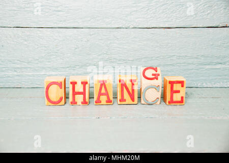 The Word change written on a wooden cube turned into Chance - Stock Photo