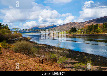 Ballachulish Bridge over the Loch Leven and Loch Linnhe Narrows, joins the two communities in Argyll and Inverness-shire - Stock Photo