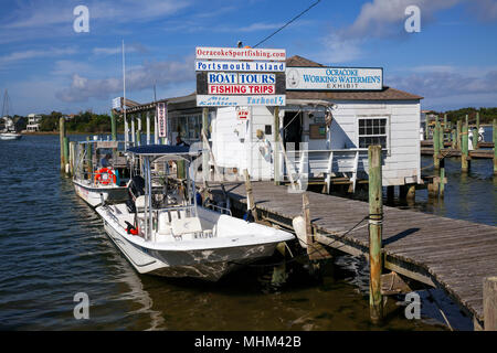 NC01585-00...NORTH CAROLINA - Boat dock and ferry service to Portsmouth Island in Silver Lake Harbor, Ocracoke, Ocracoke Island Outer Banks. - Stock Photo