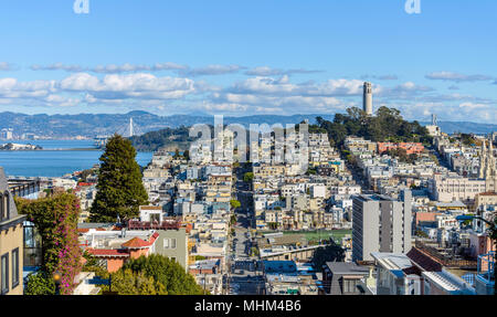Telegraph Hill - A panoramic view of neighborhoods of Telegraph Hill, Coit Tower and Bay area, looking from top of Russian Hill, San Francisco, CA, US - Stock Photo