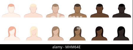 Complexion. Different skin tones and hair colors of men and women. Very fair, fair, medium, olive, brown and black -  illustration on white. - Stock Photo