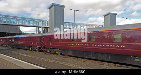 Royal Scotsman Train & engine Belmond 66746 in Perth Railway station - Stock Photo