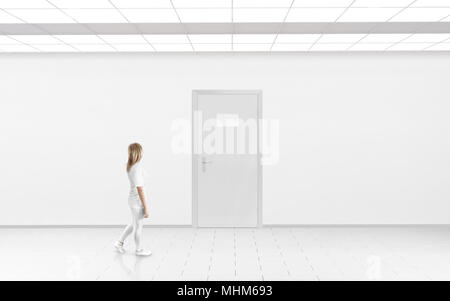 woman stand near door with blank glass name plate mockup door sign