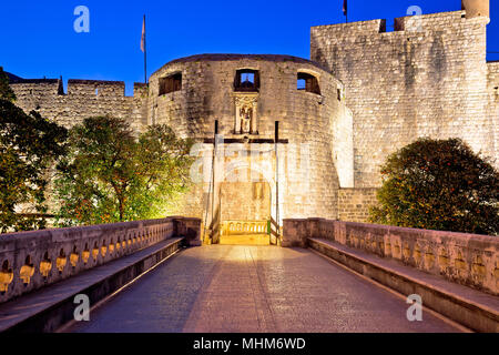 Pile gate entrance in town of Dubrovnik evening view, Dalmatia region of Croatia - Stock Photo