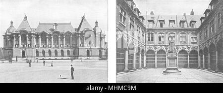 NORD. Lille. Palais des Beaux- arts; Lille. Cour de la Bourse 1900 old print - Stock Photo