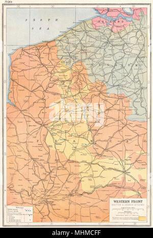 1924 vintage map france belgium western front first world war 1 key battles 1914 18 1920