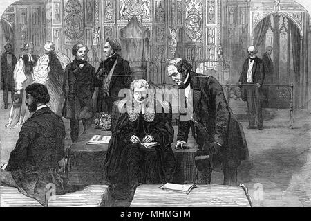 HOUSE OF LORDS Lord Chancellor sits on the woolsack       Date: circa 1850 - Stock Photo