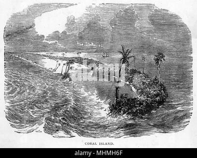 Coral Island, off Pitcairn Island, where the mutineers settled       Date: 1789 - Stock Photo