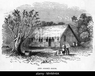 The home of JOHN ADAMS one of the mutineers who fled to and settled on Pitcairn Island, dying in 1829 at the age of 65      Date: 1829 - Stock Photo
