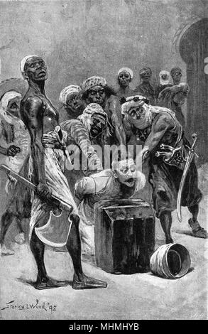 """Cries of """"I'm a British subject"""" look unlikely to save this man from beheading by axe       Date: 1899 - Stock Photo"""