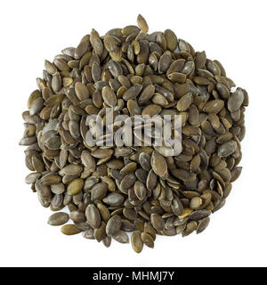 Pumpkin seeds peeled, isolated on white background, top view shot. - Stock Photo